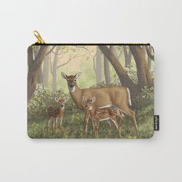 Whitetail Deer Doe and Cute Twin Fawns Carry-All Pouch