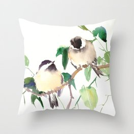 Chickadees, birds on tree, bird design neutral colors Throw Pillow