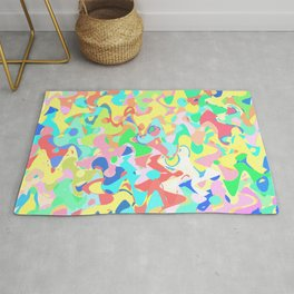 Chaotic vision, vibrant colors and shapes, funny mess Rug