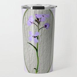 Violet Petals and Spring Green Waves Art Print Travel Mug