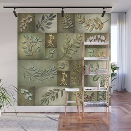 Earthtone Color Blocks with Botanicals Wall Mural