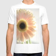Salmon Gerbera MEDIUM White Mens Fitted Tee