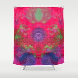 Composition of floreal pattern on red background Shower Curtain