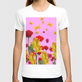DECORATIVE YELLOW BUTTERFLIES, RED ROSES, DAFFODILS SPRING FLOWERS T-shirt