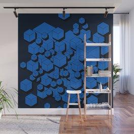 3D Cobalt blue Cubes Wall Mural