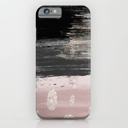 Abstract blush pink black gray gold glitter brushstrokes iPhone Case