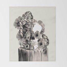 Life on a pedestal, floral skull Throw Blanket