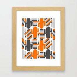 Modern striped cacti Framed Art Print