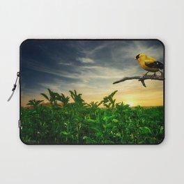 Little yellow bird in the green field Laptop Sleeve