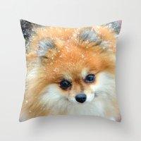pomeranian Throw Pillows featuring Pomeranian  by Julie Rawlings