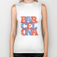 barcelona Biker Tanks featuring Barcelona by White Feathers Designs