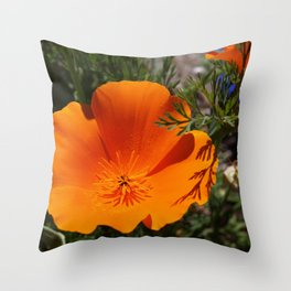Brilliant California Poppy Throw Pillow