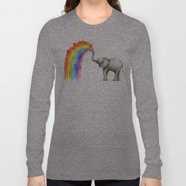 Baby Elephant Spraying Rainbow Langarmshirt