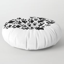 Dog paw print made of heart Floor Pillow