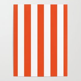 Microsoft red orange - solid color - white vertical lines pattern Poster