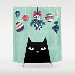 Mistletoe? (Black Cat) Shower Curtain
