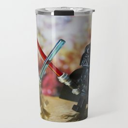 Darth Vader and Luke Skywalker lego characters fighting with their lightsabers Travel Mug