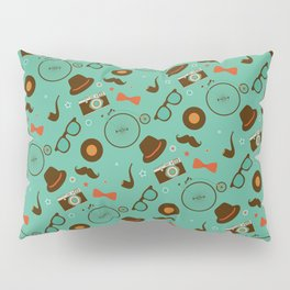 Colorful Hipster Elements Pattern on green Pillow Sham