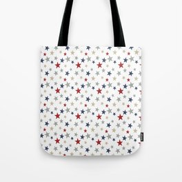 Patriotic Stars Red White Blue Repeating Pattern Vector Tote Bag