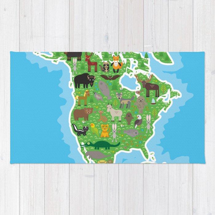 Map Of North America With Animals Bison Bat Manatee Fox Elk Horse Wolf Partridge Seal Polar Bear Rug
