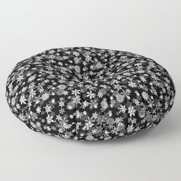 Festive Black and White Christmas Holiday Snowflakes Floor Pillow