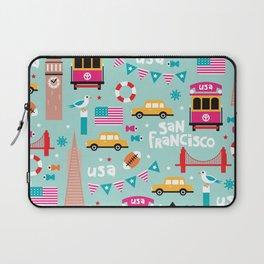 San Francisco travel - Retro style illustration pattern Laptop Sleeve