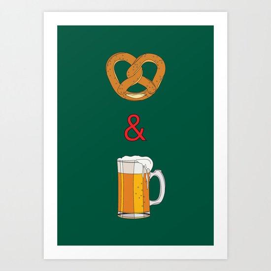 Bretzels (Pretzels) and Beer Art Print