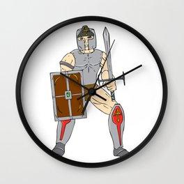 Knight Wielding Sword and Shield Cartoon Wall Clock