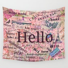 Hello in different languages travel quote Wall Tapestry