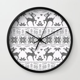 Christmas black and white, the embroidered pattern. Wall Clock