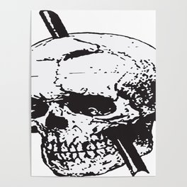 Frontal Lobotomy Skull Of Phineas Gage Vector Isolated Poster