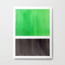 Abstract Midcentury Modern Minimalism Pop Art Colorful Emerald Green Black Squares Rothko Metal Print