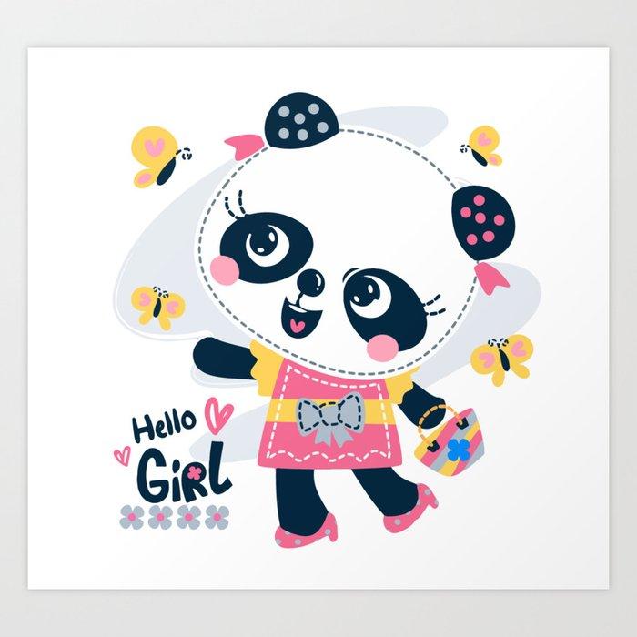 Cute Cartoon Panda Girl Wearing Dress Art Print By Art Disigner Society6