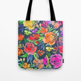 Floral Watercolor Pattern | Peonies and Roses | Dark Background Tote Bag