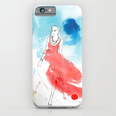 Christmas girl in the snow iPhone 6s Slim Case