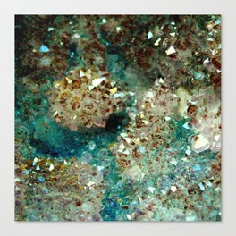 SPARKLING GOLD AND TURQUOISE CRYSTAL Canvas Print