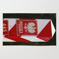 poland Area & Throw Rugs featuring Frontier between Poland and Germany by Premium