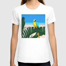 Parrot Tropical Banana Leaves Design T-shirt
