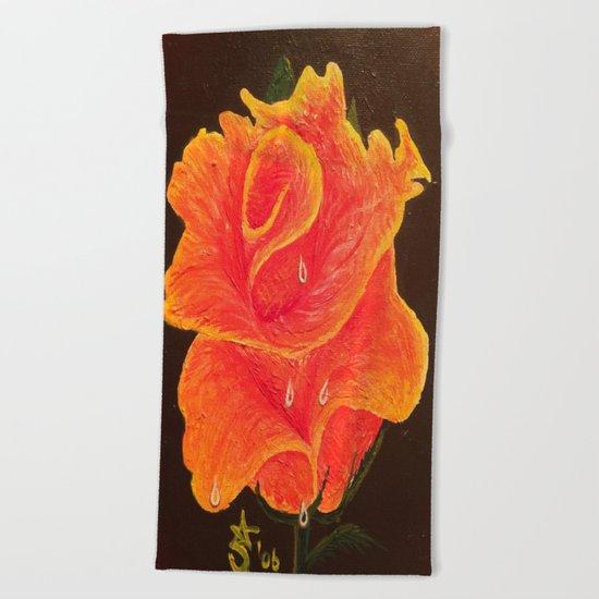 Orange Dream Rose in Acrylic Beach Towel