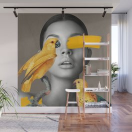 Girl with Parrots Wall Mural