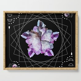 Crystal Totem Line Work Occult Tattoo Style Illustration Serving Tray