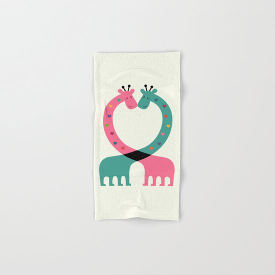 Love With Heart Hand & Bath Towel