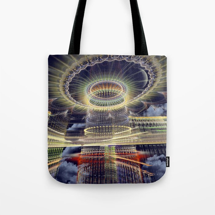 The Tower, Surrealistic mixed media art Tote Bag