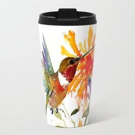 Hummingbird and Orange Floral Design Travel Mug