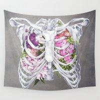nurse Wall Tapestries featuring Floral Ribcage by Trisha Thompson Adams