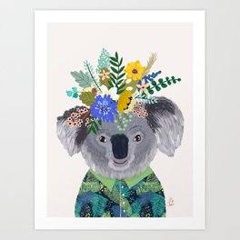 Koala with flowers on head Art Print