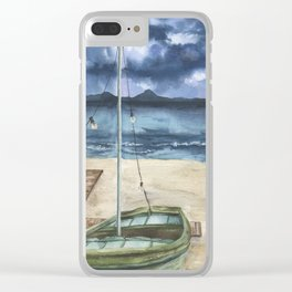 Sea landscape with old boat Clear iPhone Case