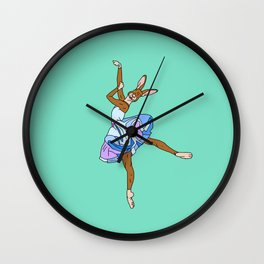 Bunny Rabbit Ballerina - Teal Blue Wall Clock