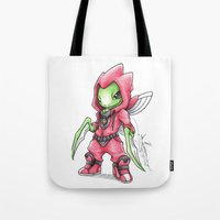 projectrocket Tote Bags featuring The Deadliest Ninja Warrior by Randy C