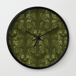Olive Green Classic Acanthus Leaves Pattern Wall Clock
